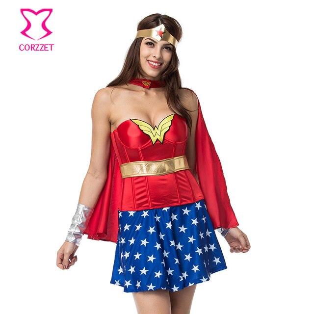 d1376fe35 Superhero Supergirl Halloween Burlesque Espartilho Vestido Com Capa Mulher  Maravilha Cosplay Carnaval Costume Sexy Fantasias para