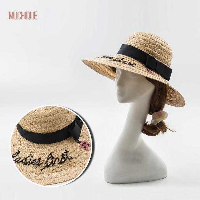 045177b6026 Muchique Sun Hat Raffia Braid Bucket Hat Ladybugs Embroidery Summer Hats  for Women Straw Hat with