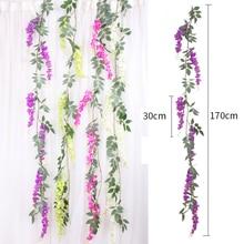 170cm Artificial liana Silk Wisteria Flowers Vines Rattan Bride flower Wall Hang