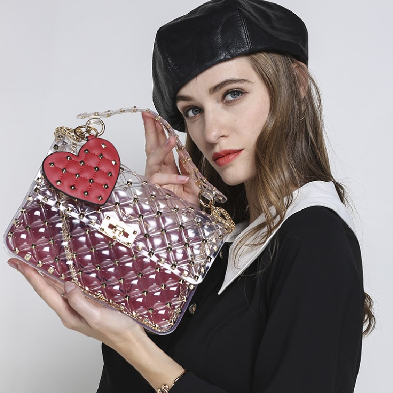 rivets transparent totes bag clear pvc plastic quilted beach bags chains handbag women summer bags 2018 luxury brand fashion toyoosky women summer crossbody bag pvc transparent composite bags set with purse waterproof quilted plaid beach handbags female