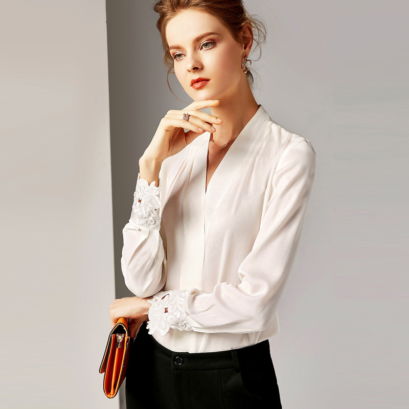 Long Sleeved Shirt Women 2019 Spring New 100 Natural Silk Solid Color V Neck Loose Office Lady Slim Women Tops S XL in Blouses amp Shirts from Women 39 s Clothing
