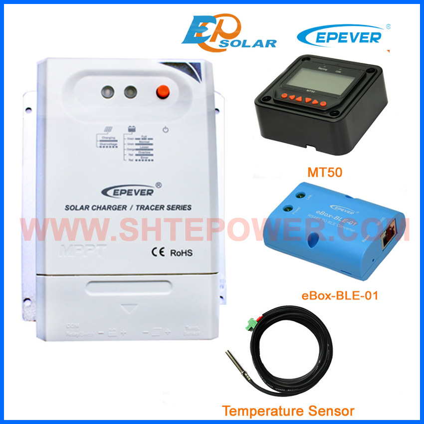 temperature sensor and eBOX-BLE-01 for mppt 20A regulator solar panel system use Tracer2210CN+MT50 remote meter mppt 20a solar regulator tracer2210a with mt50 remote meter and temperature sensor