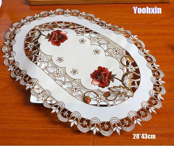 Modern lace embroidery place table mat cloth pad cup mug drink satin doilies dining glass tea coaster Christmas placemat kitchen