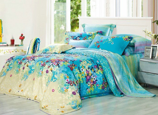 Quality Cotton Colorful Flower Floral Pattern Blue Yellow Comforter Covers 4 Pcs Queen Bed In A