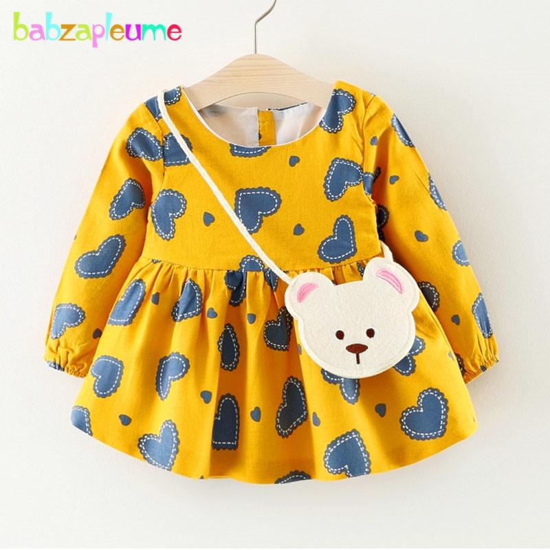 1-3Years/Spring Autumn Baby Girls Dresses Cartoon Cute 100% Cotton Long Sleeve Infant Princess Dress+Bag Newborn Clothes BC1637