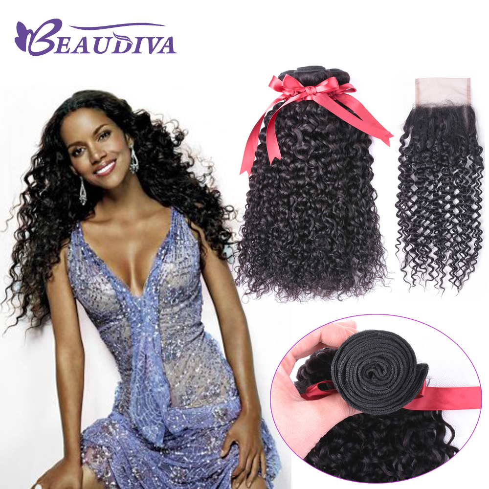 BeauDiva Hair Brazilian 100% Human Hair Kinky Curly 3 Bundles With Closure 4*4 Free Part Non Remy Hair Extensions Natural Color