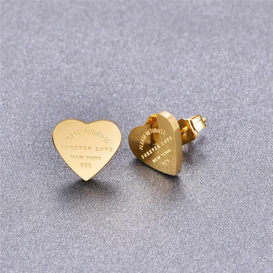 Martick Gold- color Heart Earrings For Women Rose Gold-color Heart Stud Earrings With English Letters Fine Jewelry Gift E161