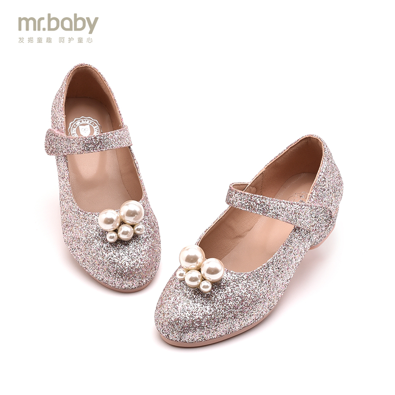 Mr.baby children shoes 2017 spring and autumn new arrival fashion elegant princess high-heeled leather glitter dance shoes  wendywu spring autumn children fashion pu leather heeled shoe for baby girsl rhinestone princess dance shoes gold toddler