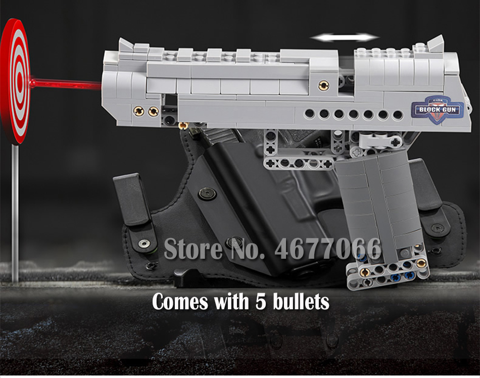 Building Blocks Toy Kit Desert Eagle toy gun for boys fire bullets Technic  DIY bricks Pistol UZI toys for children kids 51