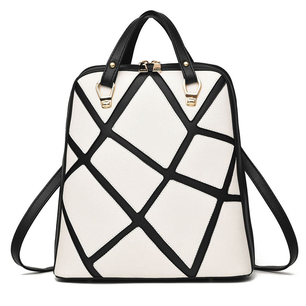 European and American Style Women PU Leather Backpack Multifunction Shoulder Bag Fashion Grid Trend Girl Rucksack