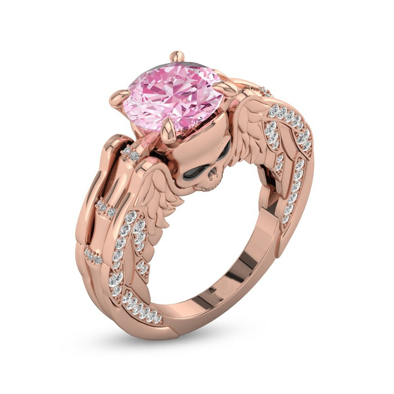 Sweet Pink CZ Crystal Rings for Women Bridal Wedding Party Engagement Rings Rose Gold Color Skull Wings Charms Rings Jewelry
