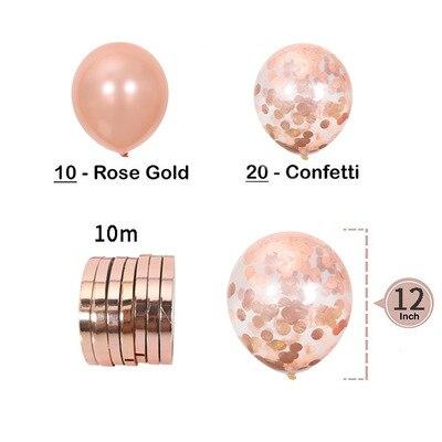 20psc aliexpress ชุดตกแต่งปาร์ตี้ rose gold วันเกิดงานแต่งงาน confetti sequins บอลลูนส่งริบบิ้นวาเลนไทน์