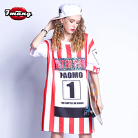 2017 Summer Women Fashion Long Street Black Red Striped T Shirt Casual Number Sequins Long T