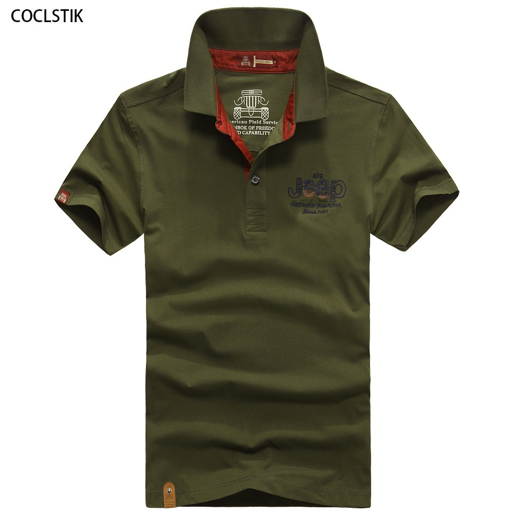 Men 39 s summer cotton polo shirt men casual army green black Man in polo shirt