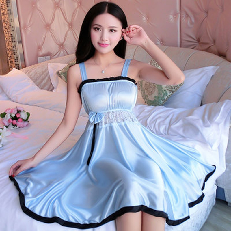 Spaghetti Strap Sleepwear Women Silk Nightwear Nightgowns Lace Sexy Lingeries Plus Size XL Female Solid Nightwear Lingerie