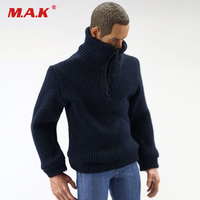 1 6 Scale Man Clothes Dark Blue Elasticity Knit Shirt Sweater Long Sleeved Clothes For 12