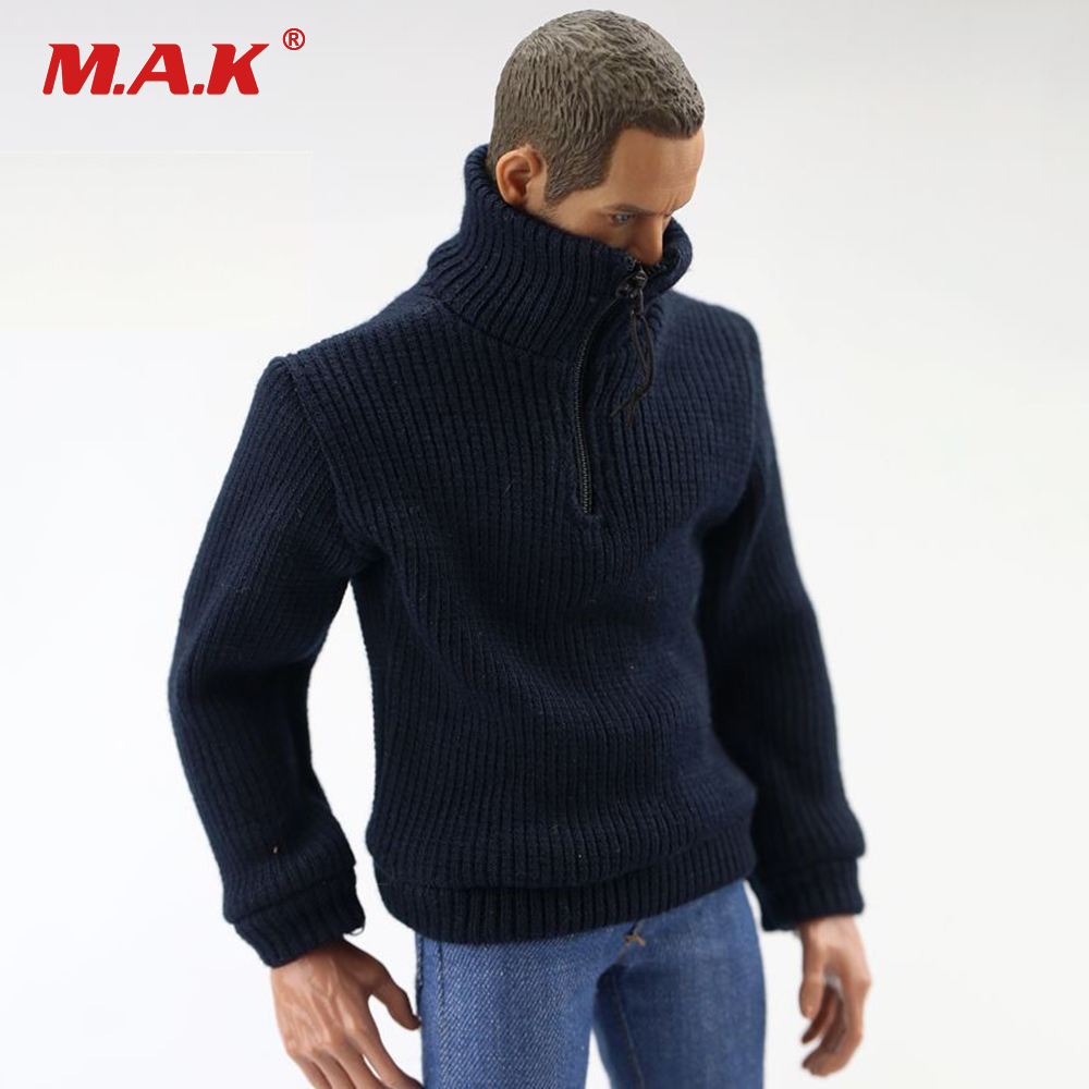 1/6 Scale Man Clothes Dark Blue Elasticity Knit Shirt Sweater Long-sleeved Clothes for 12 inches Man Action Figure Body
