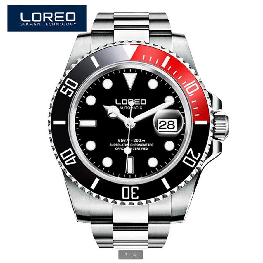 LOREO hommes montres Top marque luxe affaires automatique mécanique montre hommes Sport étanche 200 M 316L en acier inoxydable horloge