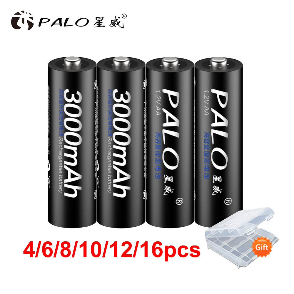 PALO 100% PALO de batería original de NiMH 3000 mAh AA baterías recargables de alta calidad juguetes de cámaras linternas y batería