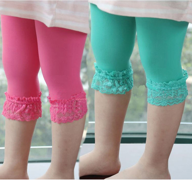 Girls Knee Length Leggings Kid Cute Pants Candy Color Children Clothing autumn-Summer Kids Trousers Legging Girl Bottom