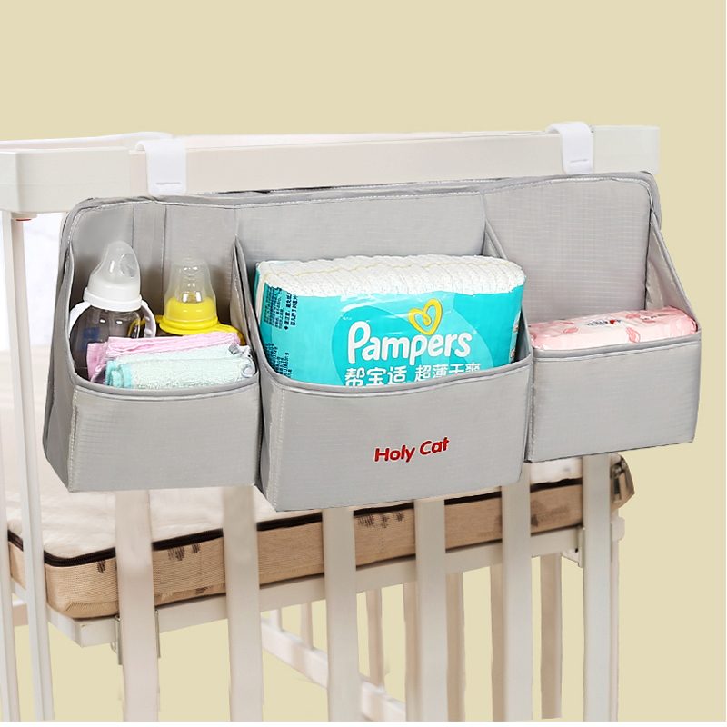 Baby Nursery Organizer Baby Crib Bed Hanging Storage Bag Newborn Diaper Stacker Caddy Container Baby Bedding Set Accessories