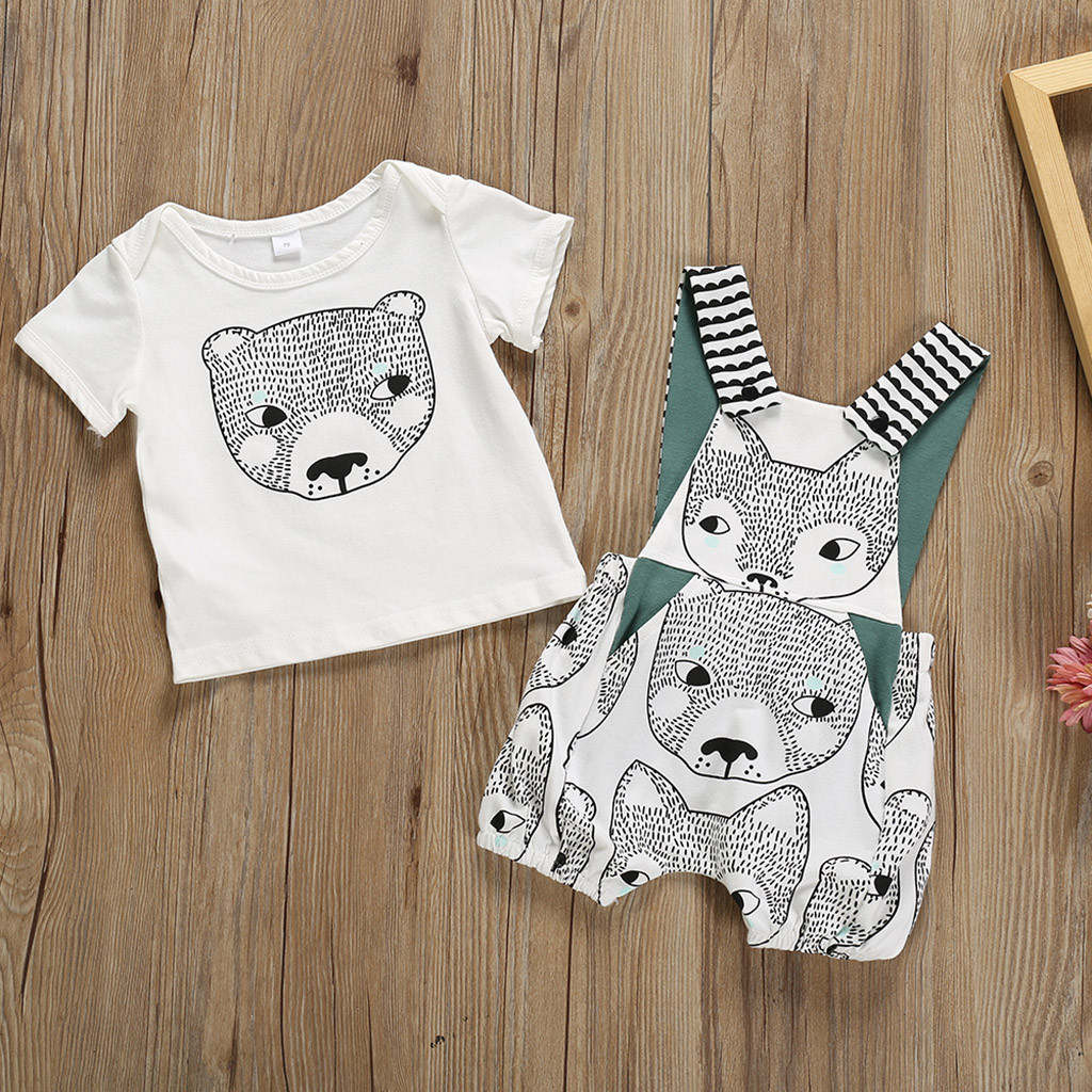 27a917af Camiseta con estampado de dibujos animados para bebés y niñas + tirantes de  oso mameluco trajes ropa de bebé Erkek bebebek Giyim ropa para recién  nacidos