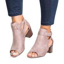 c7746e30 YOUYEDIAN 2019 Primavera Verano de las mujeres, sandalias de moda boca de  pescado hueco Roma zapatos sapatos femininos de dan un.
