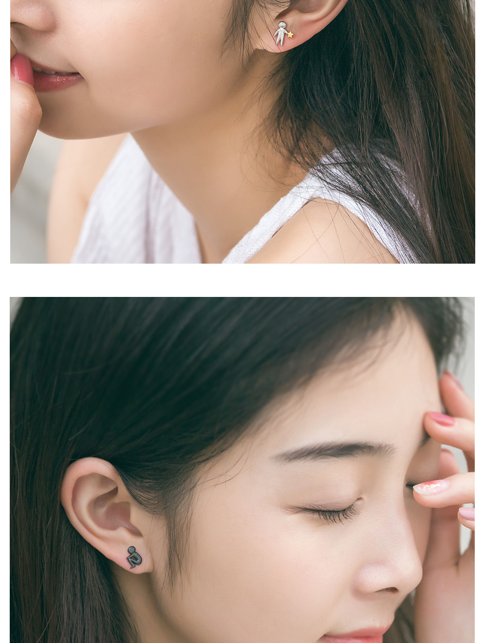 HTB1osiTE1GSBuNjSspbq6AiipXaK Thaya Picking Gold Stars for You Design Stud Earrings s925 Silver Asymmetry Figure Earring for Women Elegant Texture Jewelry