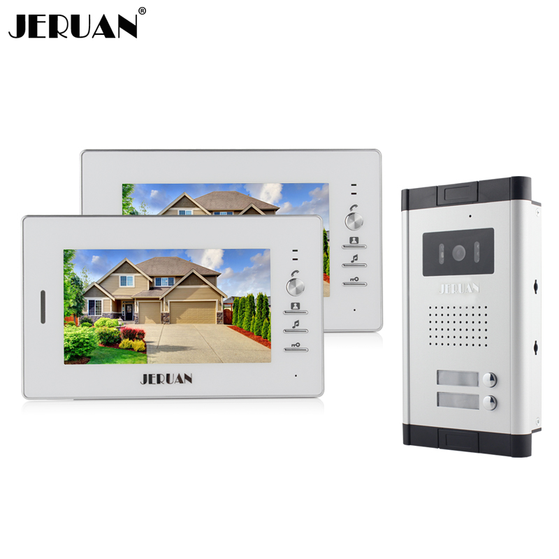 JERUAN Wholesale Apartment 7 Video Intercom Door Phone Entry System 2 Monitors + 1 Doorbell Camera for 2 house IN Stock wired 7 video door phone intercom doorbell entry system 2 monitors villa house waterproof camera in stock free shipping