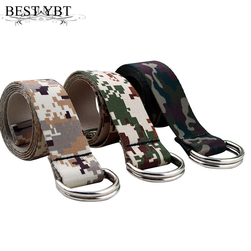 Best YBT Unisex Canvas Belt Camouflage Canvas Belt High Quality Alloy Double Ring Buckle Quality Men Outdoor Casual Canvas Belt