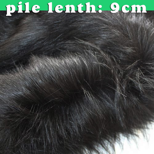 9cm Pile Black Top Quality Faux Fur Fabric Long Pile Fur Fabric  Costumes Cosplay Long Hair 60
