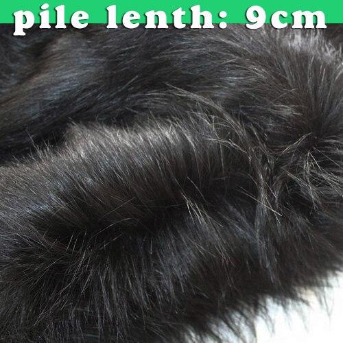 9 см ворс черный Одежда высшего качества Искусственный мех Ткань длинный ворс Мех животных Ткань костюмы Косплэй длинные волосы 60 широкий п...