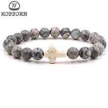 HOBBORN Trendy Cross Charm Men Bracelet 8mm Natural Map Stone Handmade Strand Healing Reiki Christian Prayer Religions Bracelets