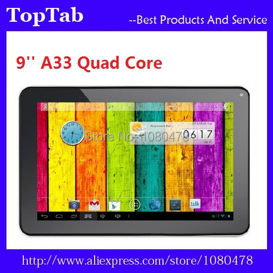 DHL Frete Grátis 20 pçs/lote 9 polegada tablet A33 quad core bluetooth Android 4.4.2 512 MB RAM 8 GB ROM