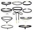 AIWGX 10 Unids/lote Gótico Collar de La Joyería Conjunto Aleación de Encaje de Terciopelo Negro Torques Gargantillas Collares Gargantillas para Las Mujeres