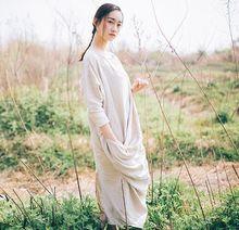 2016 Robes D'été Plus La taille Linge Dress Nouveau Mode Femmes Robe femme Naturelles Longue Lâche Vestidos casual dress Plus La Taille