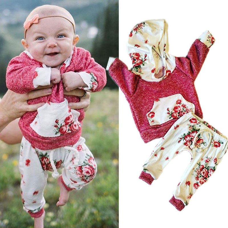 Toddler Baby Girls Floral Clothing Set Hooded Coat Hoodies Leggings Pants New Baby Warm Outfits Cotton Clothes Sets