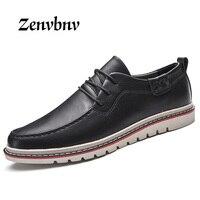 ZENVBNV 2017 Vintage Classic 100% Genuine Leather Luxury Footwear Men Shoes Fashion Stripe Mens Shoes Casual Design color Brown
