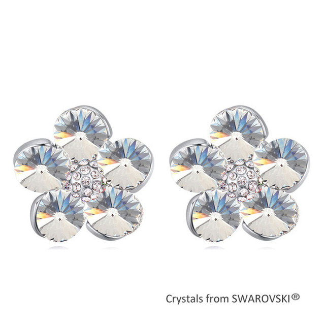 2015 Ethnic Crystal Flower Stud Earrings Made With Swarovski Elements Crystal from Swarovski Rhodium Plated Piercing Jewelry