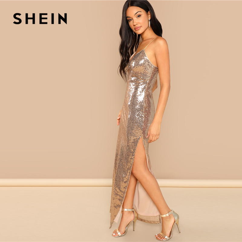SHEIN Gold Party Sexy Backless Split Side Sequin Cami Solid Sheath Maxi  Dress 2018 Summer Club Modern Lady Women Dresses-in Dresses from Women s  Clothing on ... b348135ee96c