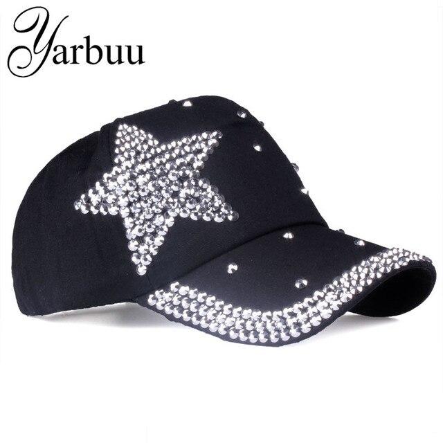 YARBUU  Boné de Beisebol marca com as mulheres de Strass estrela de Cinco  pontas d82598c0ff5
