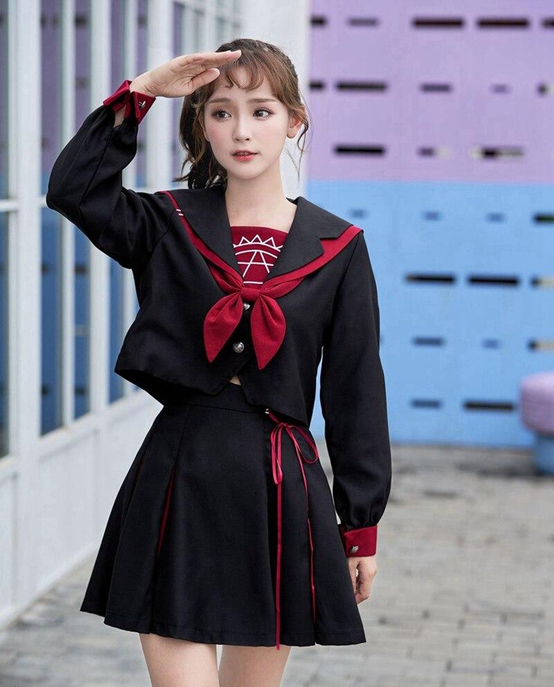 Filles noir japonais étudiant JK uniforme école Cosplay à manches longues marinière costume