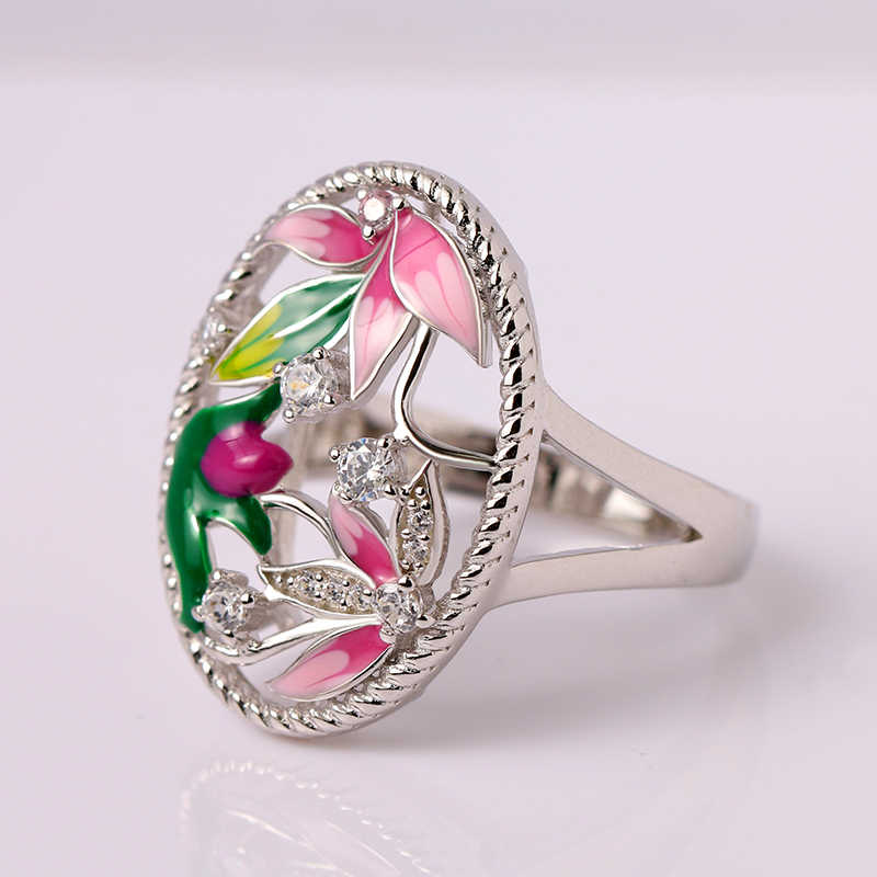 RainMarch Bohemian Enamel Silver Engagement Rings for Women 925 Sterling Silver Rings CZ Stone Crystal Flower Ring women Jewelry