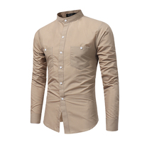 Brand 2017 Fashion Male Shirt Long Sleeves Tops Stand Collar Young Solid Color Shirt Mens Dress