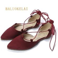 Women's Ballet Flats Shoe Lace Up Female Shoe Spring Summer Women Shoes Flock Material Casual Shoes Size 35-40,K-031