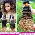 2015 nuevo pelo virginal brasileño con cierre 3 paquetes con una del encierro del cordón, más barato Ombre brasileño rizado extensión del pelo Bundles