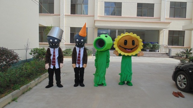 1pcs high quality Plants vs Zombies character EVA with Plush Mascot Costume toy in box via EMS.4 kinds for select
