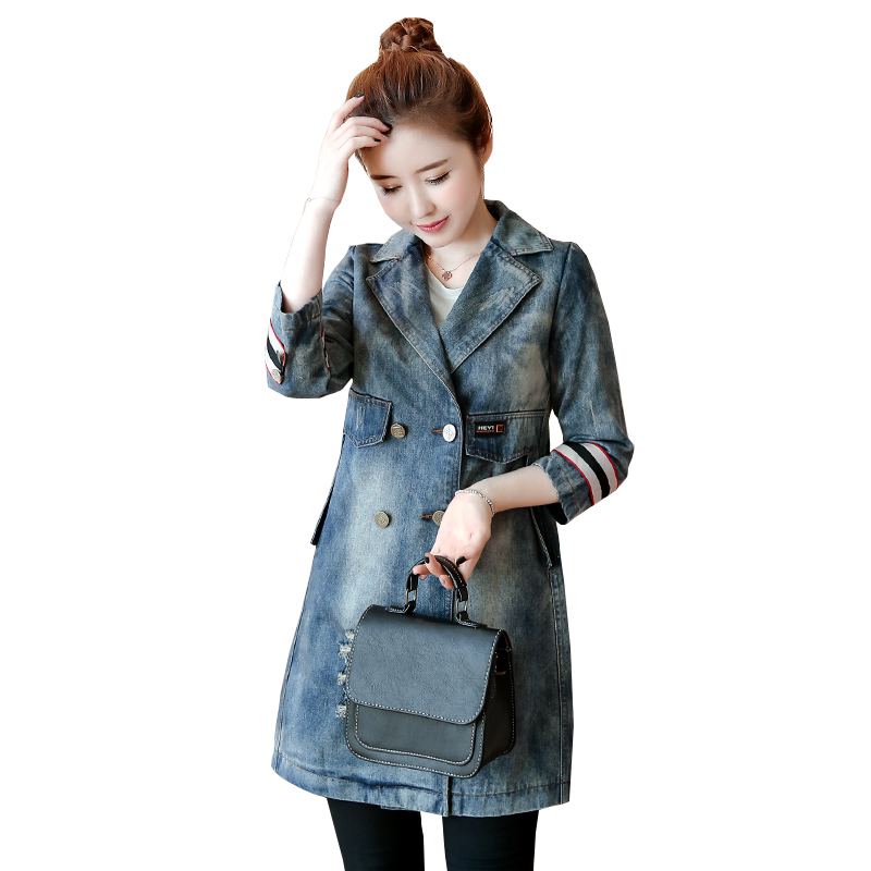 2018 Spring New Women Denim Trench Coats British Fashion Patchwork Pockets Simple Double-breasted Long Trench Coats denim Coats