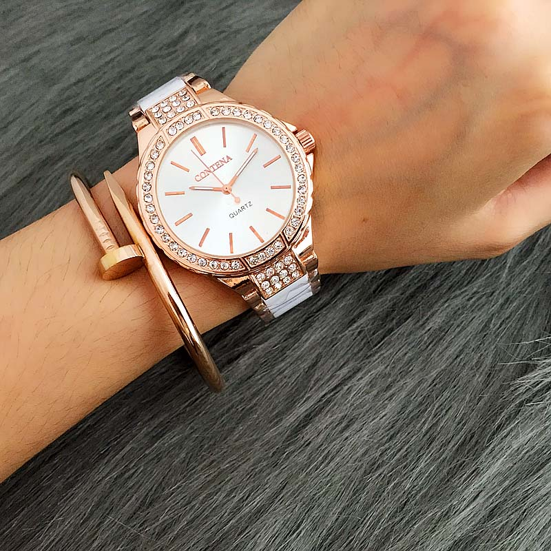 Ladies Contena Quartz Watch Women Rhinestone Alloy Casual Dress Women's Watch Rose Gold Crystal Reloje Mujer 2017 Montre Femme tezer ladies fashion quartz watch women leather casual dress watches rose gold crystal relojes mujer montre femme ab2004