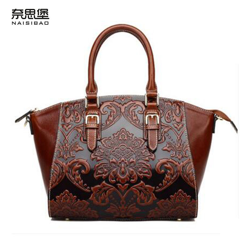 2017 New genuine leather women bag chinese style retro embossing fashion women handbags shoulder bag perfectly leather art bag